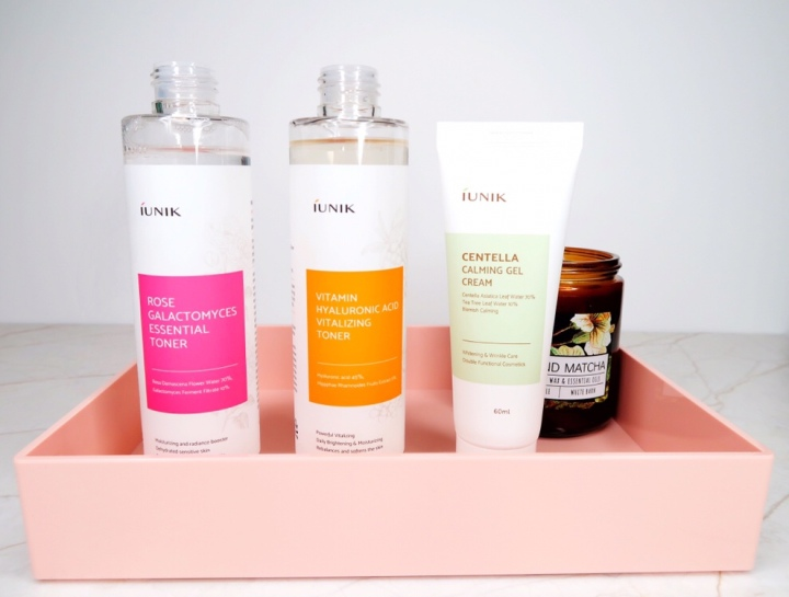 iunik rose galactomyces toner, vitamin hyaluronic acid vitalizing toner, centella calming gel cream